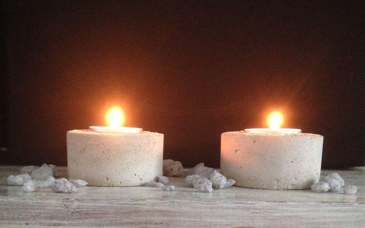 Beton 2er Set Teelichthalter modern concrete candle holder Kerzenständer Kerzenhalter von BetonDesignGER auf Etsy