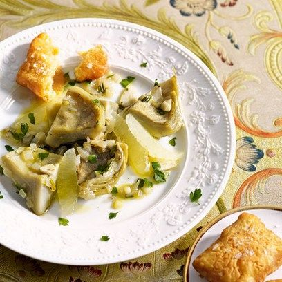 Panelle with braised artichokes and lemon