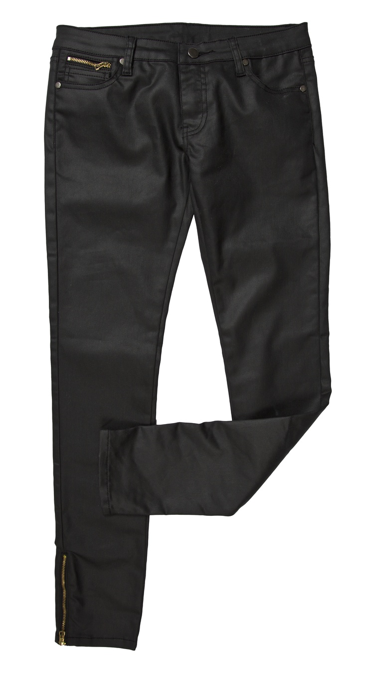 Leather-look pants with ankle-zip detail