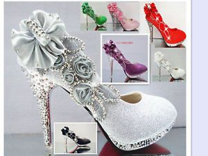 Ms. spring and summer diamond high-heeled shoes red bridal shoes waterproof shoe