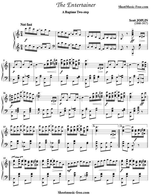 The Entertainer Sheet Music Scott Joplin Download The Entertainer