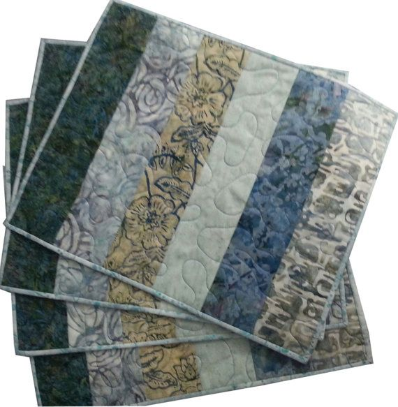 Quilted Placemats in Natural Shades of Blues by Sieberdesigns