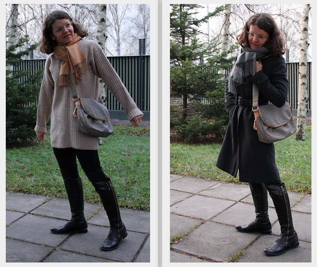 loose knitted pullover grey coat messenger bag