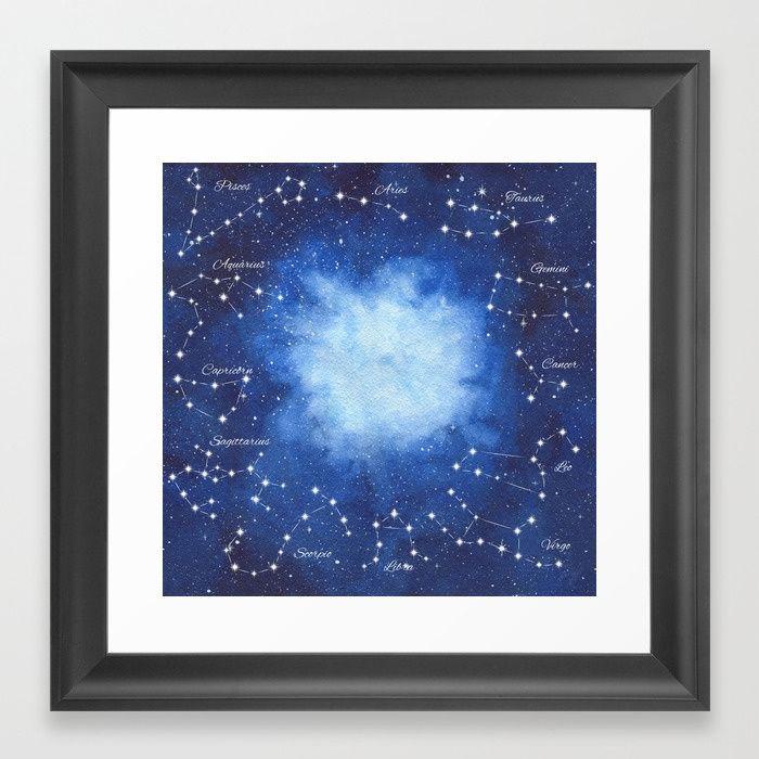 Cosmic Horoscope Framed Art Print #space #zodiac #signs #horoscope #universe #galaxy #nebula #stars #constellations #watercolor #painting #night #buy #buyonline #shopping #giftidea #present #cosmic #cosmos #society6 #buyart