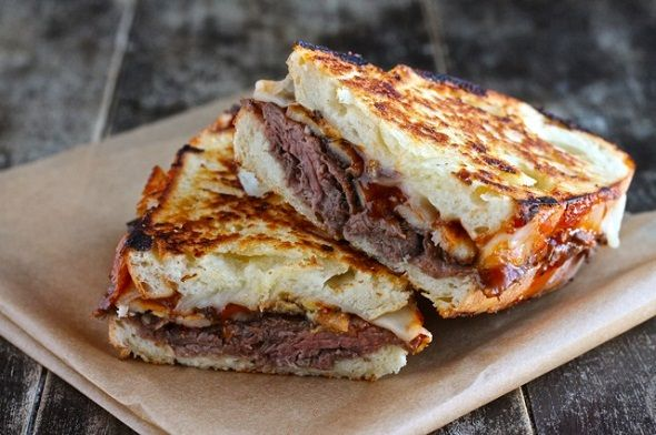 Roast Beef Grilled Cheese with Bar B Que sauce