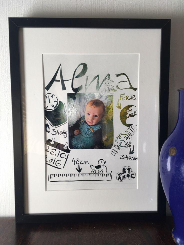 Geburtsdatenbild, Geburtsanzeige, Scherenschnitt, handgemacht mit Bild von PapirKlippKompaniet auf Etsy https://www.etsy.com/de/listing/490858160/geburtsdatenbild-geburtsanzeige
