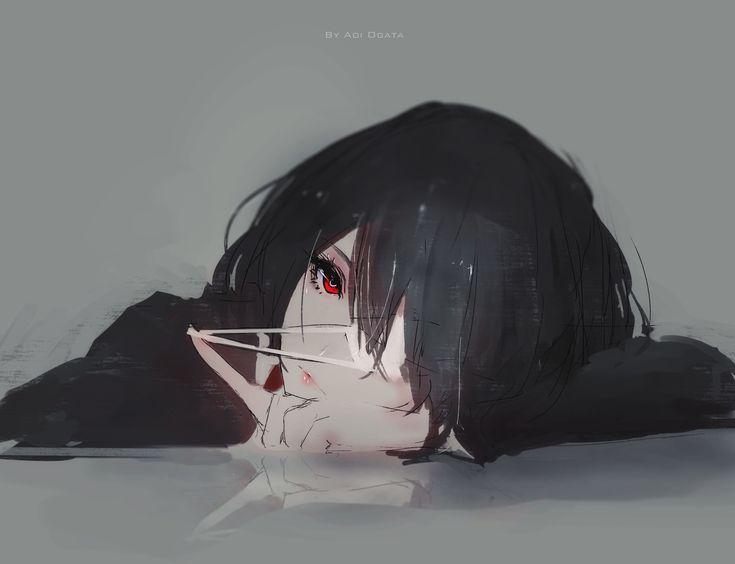 Animé : Another / Misaki Mei by Aoi Ogata Fan art from anime ANOTHER / https://www.artstation.com/artwork/eeN6Z