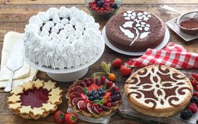 Обои десерт, выпечка, декор, торт, ягоды