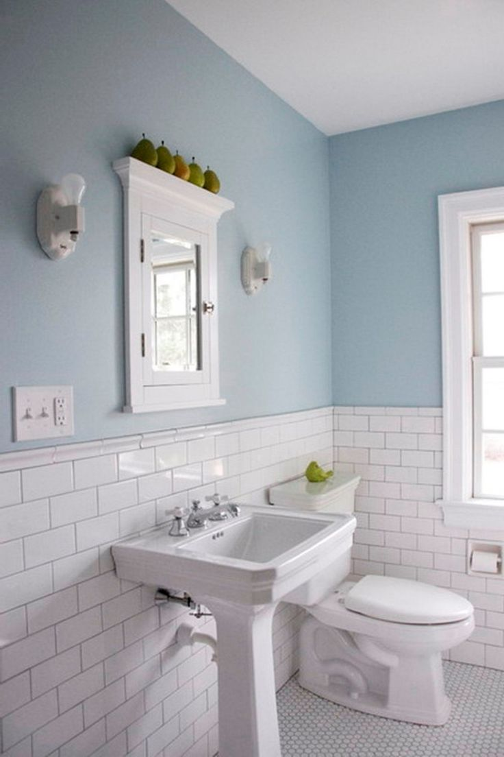 How to place tiles in bathroom - White Subyway Color Combination Traditional Bathroom Floor Tile Also Wahbasin Water Closet And Ceramics Tile Half