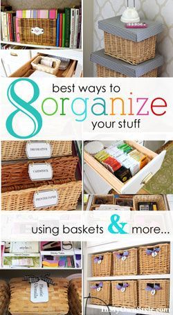 Home organizing ideas using baskets. Affordable storage and easy way to keep drawers and more organized. Free printable labels to attach to baskets to help you stay organized.