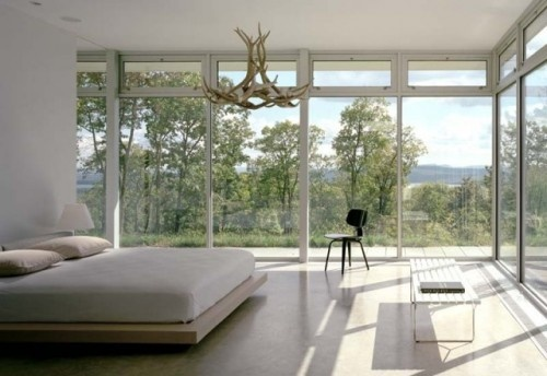Just a hint of rustic in this uber-modern room with a view