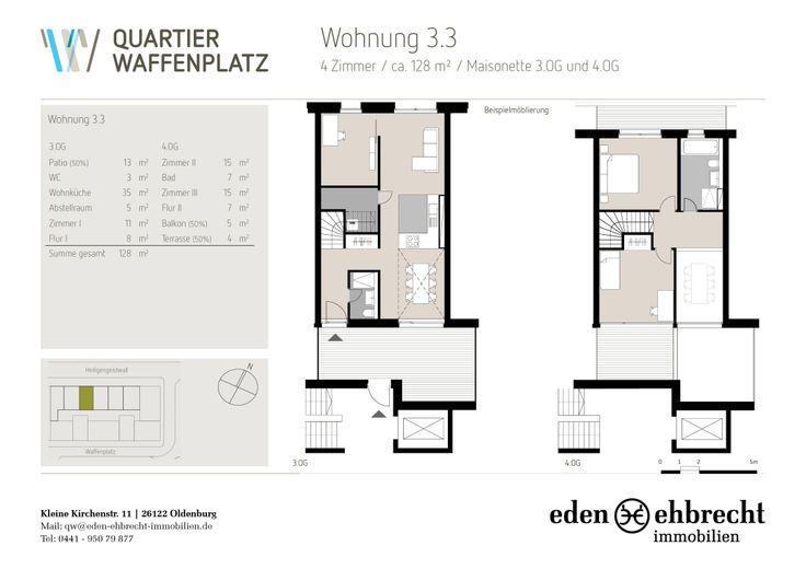 #Grundrisse #QuartierWaffenplatz.   Anders // Wohnen // Handeln // Arbeiten. Eden-Ehbrecht Immobilien vermietet exklusiv die neuen und einzigartigen Wohnungen im Quartier Waffenplatz. JETZT MIETEN!   #Immobilienmakler #Makler #Oldenburg.