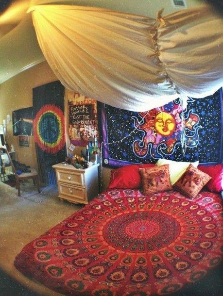 jewels hippie colorful bedding trippy bag bed duvet cover bedspread bed sheet boho bohemian bohobaja girly, grunge, cute, nirvana, 90s grey,...