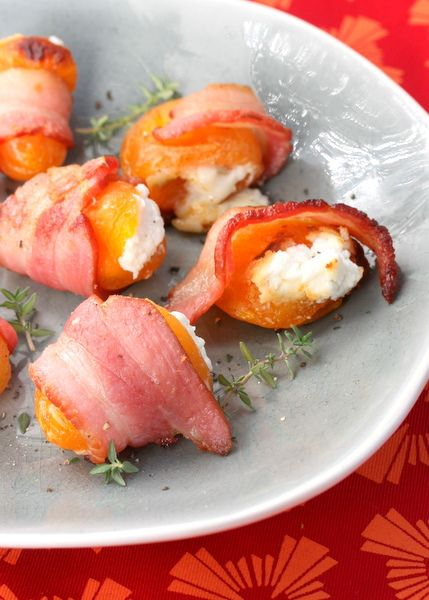 Bacon-Wrapped and Goat Cheese-Stuffed Apricots