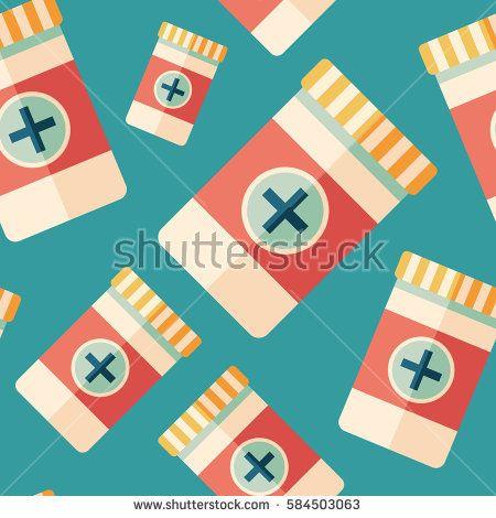 Medications flat icon seamless pattern. #beautypattern #vectorpattern #patterndesign #seamlesspattern