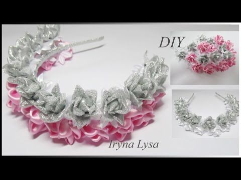 МК Ободок-венок с цветами из лент, DIY Flowers, Headband, Ribbon flowers, Tutorial #51 - YouTube