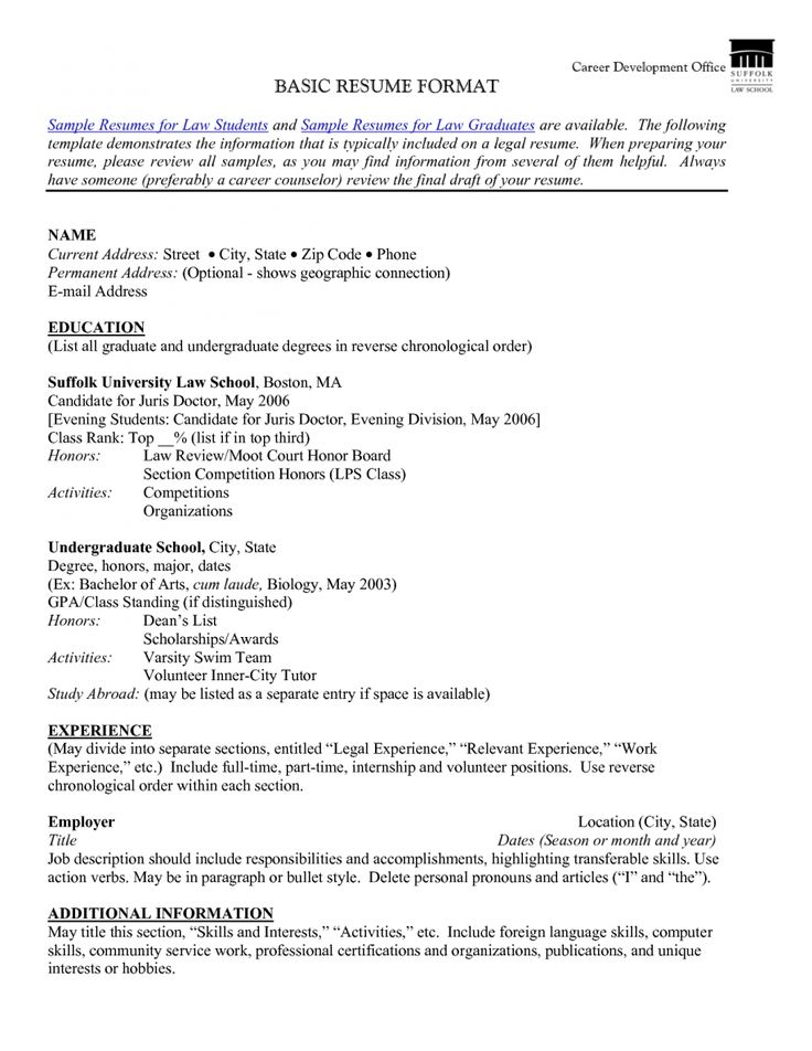 resume example sample basic format for within cover letter - reverse chronological order