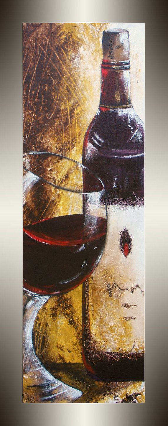 Red Wine Painting Unique Mothers Day Gifts by heatherdaypaintings, $250.00