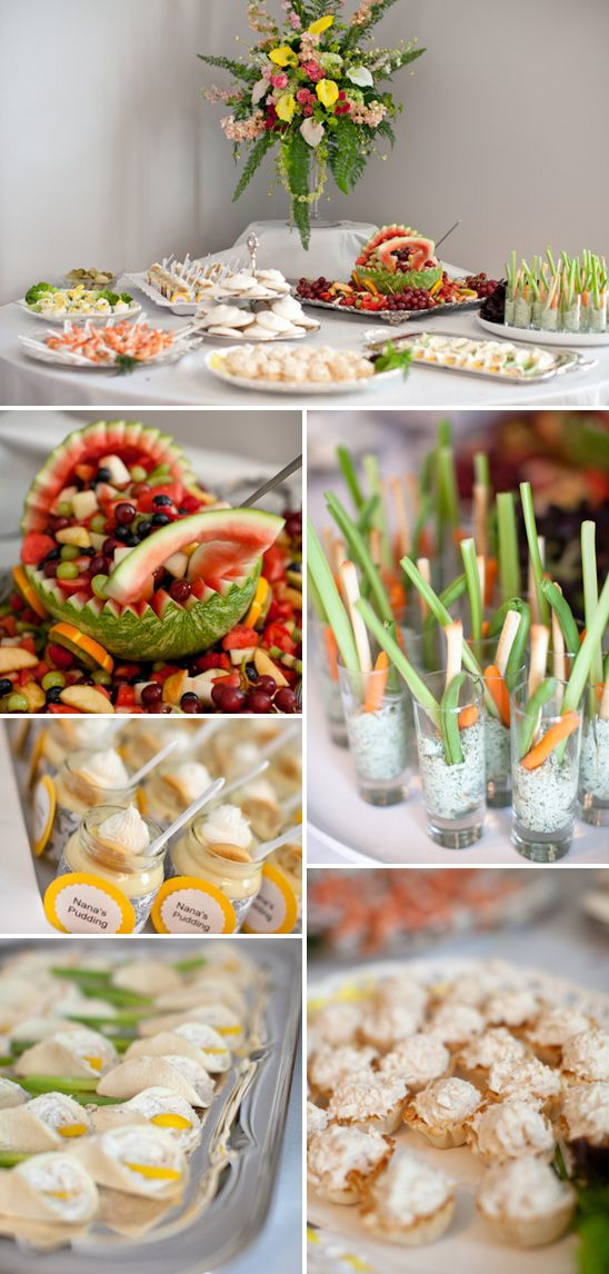Yellow & Gray Baby Shower Food Set-up Shot glasses filled with dip and carrots
