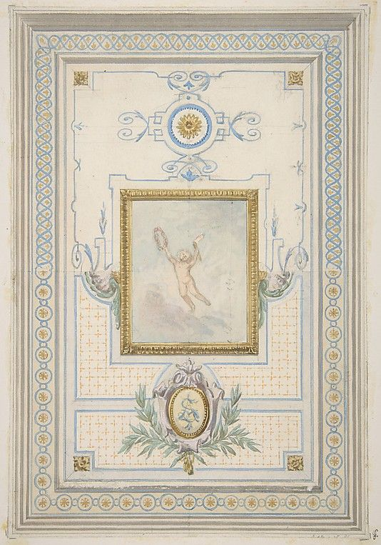 Design for the painted decoration of a ceiling with the monogram: AS Jules-Edmond-Charles Lachaise