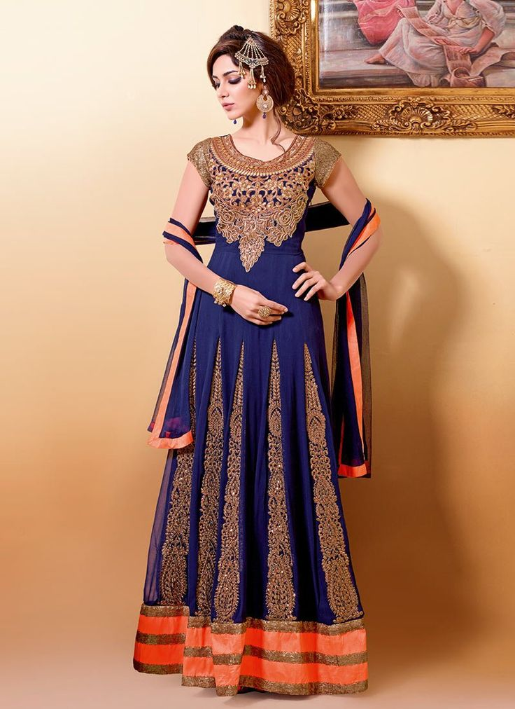 Fab Blue Georgette Floor Length Anarkali Suit