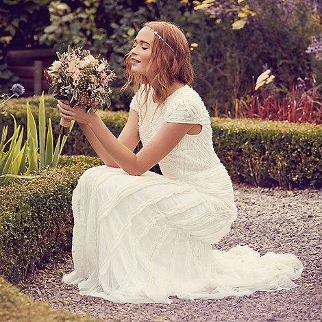 Nine by Savannah Miller Ivory 'Anabella' frilled bridal dress | Debenhams
