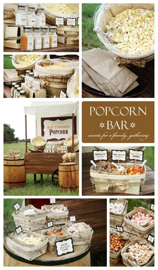 olde fashioned rustic popcorn bar.. same idea....they used just plain brown paper bag, you could do the same, but add some detail, maybe a stamp of pinecones, initials, names, etc