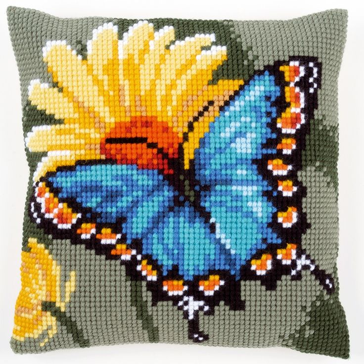 Butterfly & Yellow Flower - Kruissteekkussen - Vervaco