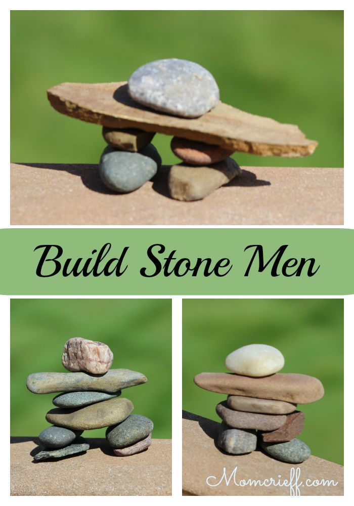Build stone men. It's a fun relaxing activity for you and the kids. It doesn't cost anything and doesn't take much time. These stone men are known as Inuksuk in Canada.