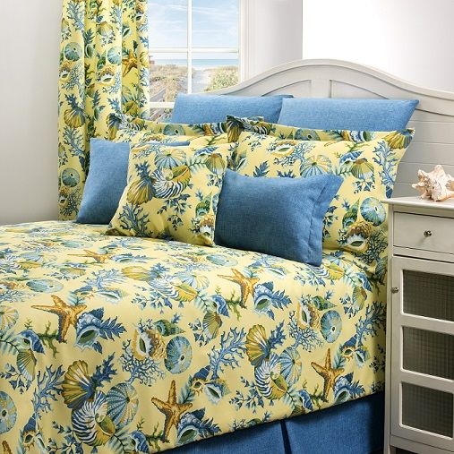 Ocean View Blues, Creme and Brown Comforter Sets and Accessories by Victor Mill Inc