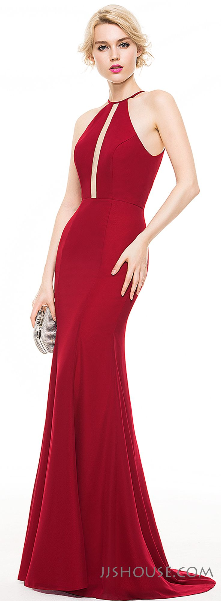 Exposing a hint of skin is more sexy. This Trumpet Scoop Neck Sweep Train Chiffon Evening dress proofs it. #JJsHouse
