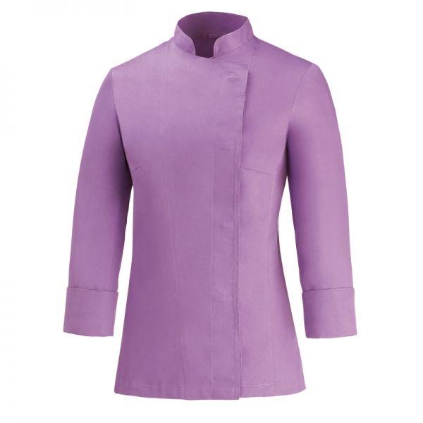 Lilla Girl Chaqueta de mujer. 100% algodón. Color lila. Slim Fit. Corchetes ocultos inoxidables sin contacto con la piel. www.chefaporter.com