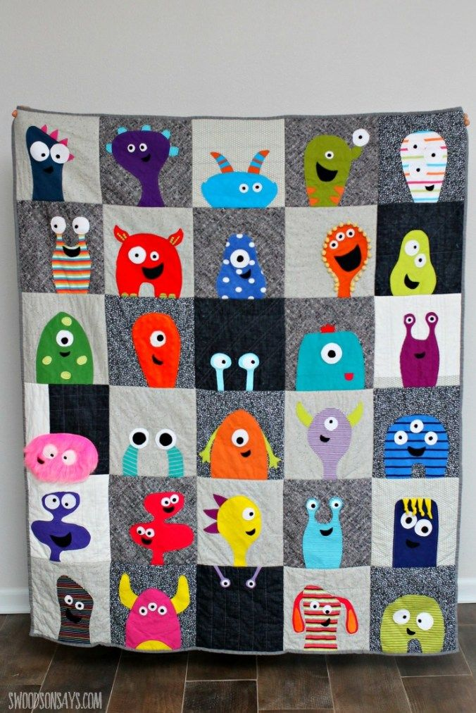 274 best images about sew fun quilting kids on pinterest for Monster themed fabric