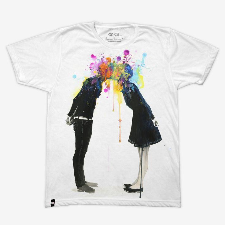 Big Bang Kiss by Lora Zombie www.booZhee.com #art #watercolor #tshirt #kiss #lorazombie #fashion #booZheestyle