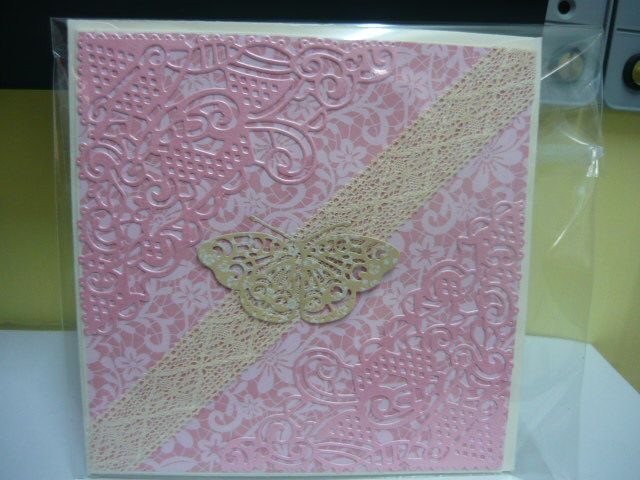 Card made using Tattered Lace dies lace and butterfly