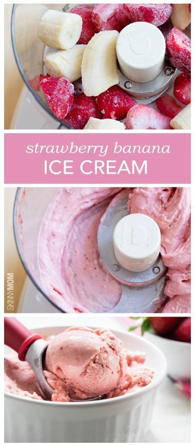 In food processor blend:  2 Frozen bananas + 1/2 c frozen strawberries sliced + 2 TB whipping cream + 1/2 tsp vanilla Place in freezer container and freeze. Scoop and serve.