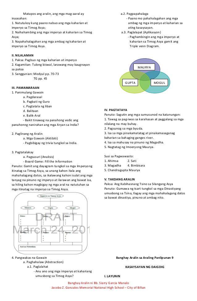 Banghay aralin sa araling panlipunan 9 | 1 | English lesson