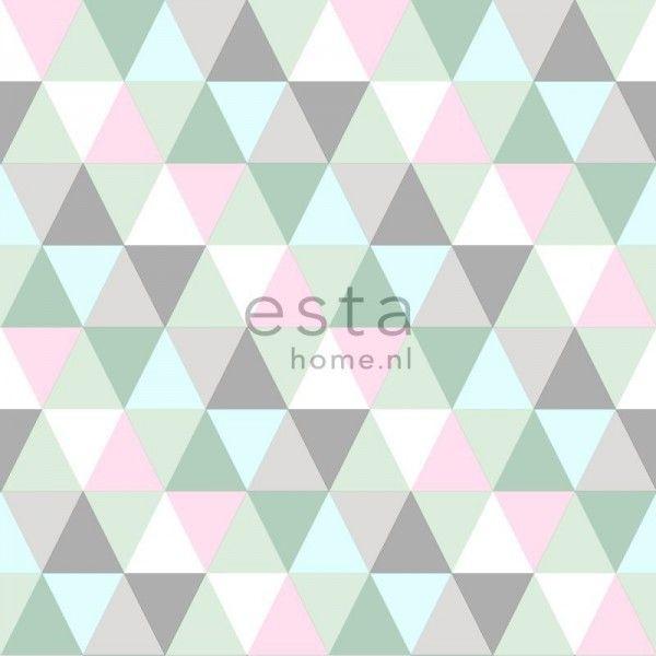 krijtverf vliesbehang driehoekjes roze, mint en grijs - Everybody Bonjour - collecties | ESTAhome.nl