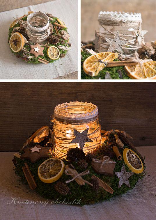Christmas candleholder, fragrant, christmas spice, natur decor  http://www.sashe.sk/Pipistrela/detail/vianocny-veniec-so-svietnikom