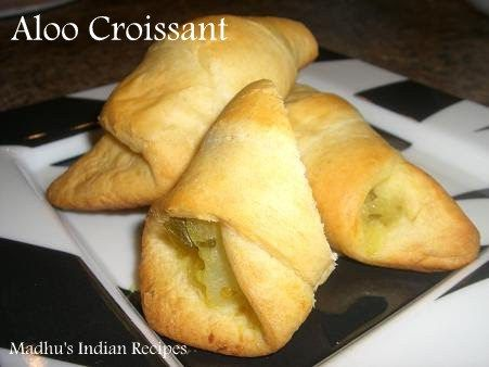 Stuffed aloo fry in a croissant