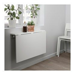NORBERG Wall Mounted Drop Leaf Table, White