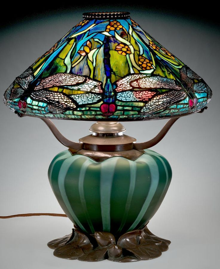 Reading Lamp With Dragonflies And Water Flowers, Clara Pierce Wolcott  Driscollu2026