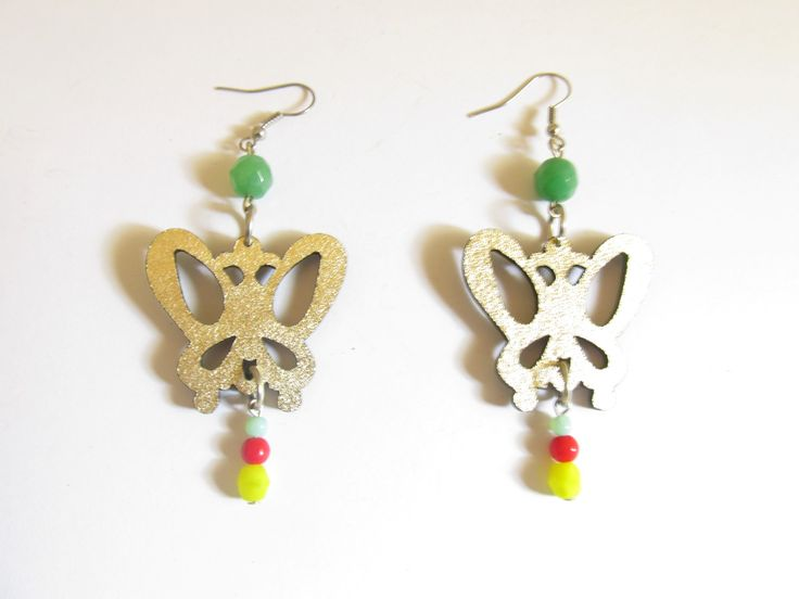 Handmade laser cut leather earrings (1 pair)  Made with gold leather butterfliew and glass beads.