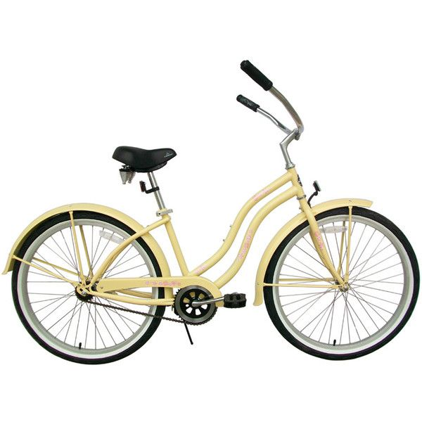 BC-105 Deluxe 26 Women's Beach Cruiser - GreenLine Bicycles - Beach... ❤ liked on Polyvore featuring fillers, yellow, backgrounds, bikes, bicycles, doodle and scribble