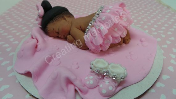 FONDANT Baby with A LITTLE BLING Cake Topper for Baby by anafeke