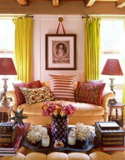 warm clutter: Curtains, Decor Ideas, Color Schemes, Bright Color, Cozy Living Rooms, Sit Rooms, Families Rooms, Design, Pink Bathroom