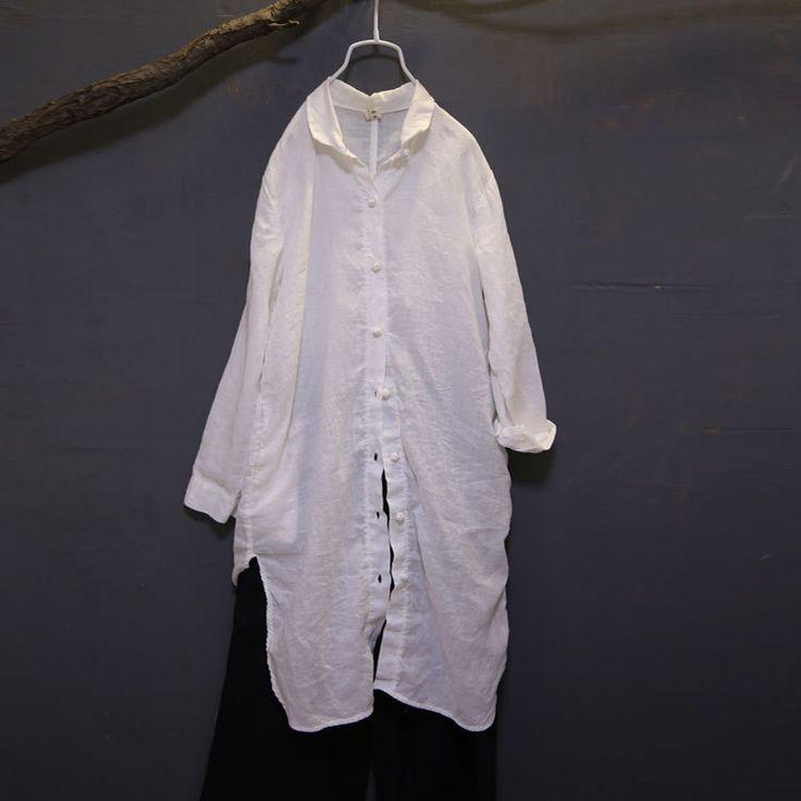 Johnature женские рубашки кнопку осень 2017 г. Новый льняные случайные белого и синего цвета свободные блузки с длинным рукавом Винтаж Топы Длинные рубашки купить на AliExpress