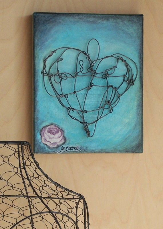 Sale  Je t'aime Wire Heart Painting  8x10 Gallery by AustinJames