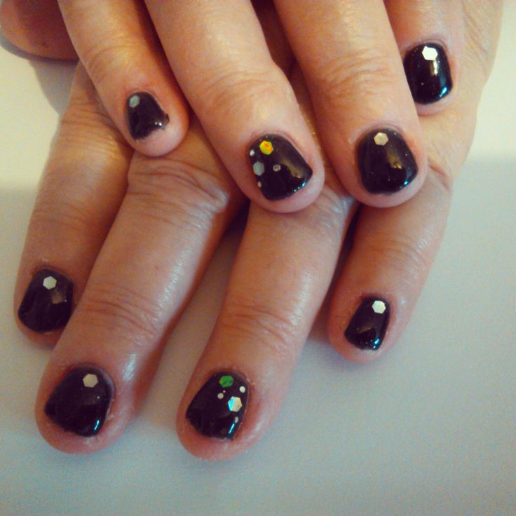Bio Sculpture Gel overlays using No. 80 Starry Night with glitter shapes nail art.