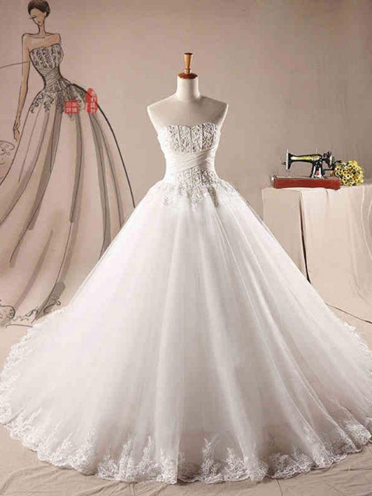 Dathybridal #ウェディングドレス ボールガウン ハートカット レースアップ ノースリーブ アップリケ #オーガンジー アイボリー スウィープ 結婚式 二次会ドレス Hlb0044
